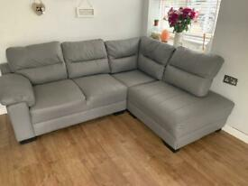 Grey leather left hand corner sofa