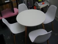 WHITE - AS NEW - WHITE ROUND TABLE AND 4 MATCHING CHAIRS
