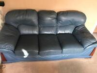 2 and 3 Seater blue leather sofa