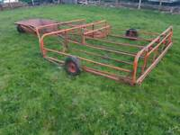 Tractor flat eight square bale sledge baler