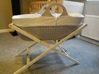 Dove Grey Moba Moses Basket with stand