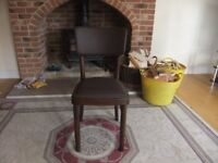 MODERN CHAIR UPHOLSTERED IN BROWN LEATHERETTE FABRIC WITH A STUDDED DETAIL IN GOOD CONDITION £10
