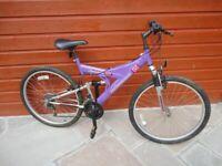 Universal Odessa dual suspension bike, 26 inch wheels, 18 gears, 18 inch frame working order