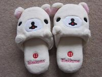 Girls/Ladies Slip On Slippers NEW with bear design - from Hong Kong Size - UK 5 approx