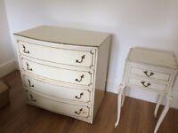 Chest of drawers and side cabinet