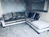 Silver crushed velvet sofa -