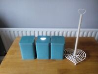 3 Blue Canisters & Kitchen Roll Holder