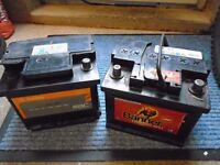 Two Car Batteries - Dead - Collection only - from Tiverton £5 for the pair - 063 battery 12volt -
