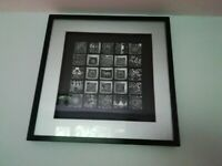 Beautiful collection of ornate silver ceramic tiles in large black 3D frame
