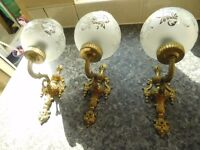 3 VINTAGE BRASS WALL LIGHTS WITH GLOBES IN EXCELLENT CONDITION
