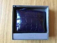 Osprey London Coin Purse Wallet Leather Croc Purple