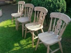 4x pine heavy fiddleback dining chairs