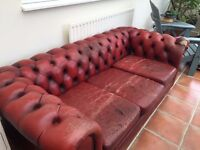 Vintage distressed Oxblood Red Chesterfield 3 seater sofa