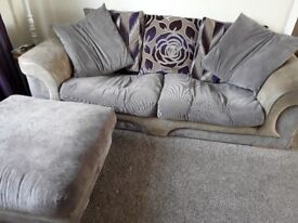 3 seater sofa and foot stool.