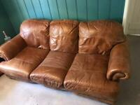 Italian Leather Tan 3 seatet