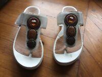Ladies Clarks White Sandals size 5