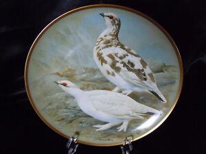 """Assiette collection Gamebirds Oiseau LIMOGES FRANKLIN HAVILAND Lagopede alpin - France - Consultez mes autres objets ! Assiette de collection OISEAUX de FRANKLIN PORCELAIN - HAVILAND LIMOGES FRANCE Intitulée : """"Ptarmigan"""" ou """"Lagopede alpin"""" Assiette de la collection : """"Gamebirds of the World"""" ou """"Gibier plume du monde"""" Assiette ill - France"""