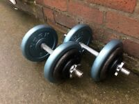 SET OF SOLID BAR DUMBELLS WITH 28KG OF CAST IRON WEIGHTS