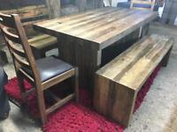 Reclaimed wood small kitchen dining table, 2 benches & 2 chairs BRAND NEW!