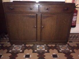 beautiful oak-finish period sideboard or cupboard