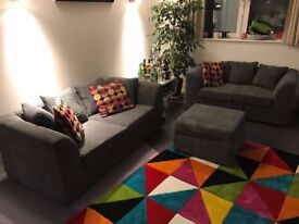 3 and 2 Grey Sofa Set and Footstool