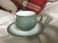 Denby Regency Green cups and saucers x 2, immaculate