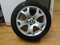 GENUINE BMW X5 TIGER CLAW ALLOY JUST REFURBISHED & NEW 285 45 19 TYRE £80 (loads more av} TXT SIZE