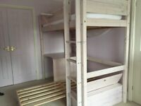 White lacquer bunk bed with desk and pull out sofa bed