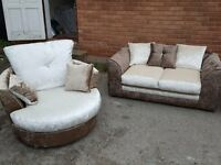 Comfy Brand New brown/mink crushed velvet sofa suite.Cuddle swivel chair & 2 seater.can deliver