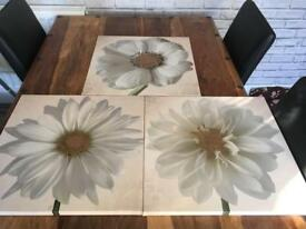 3 canvas flower pictures