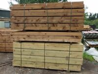 Railway sleepers .Pressure treated ,2.4 M 200x100.Delivery available.£19 each .0208 398 7075