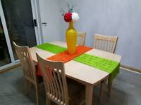 Dining table set wooden extendible with 4 chairs