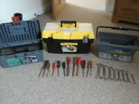 Toolboxes with hand tools