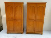 1 Solid Pine Double Wardrobe - Very Good Quality Pine - Excellent Condition