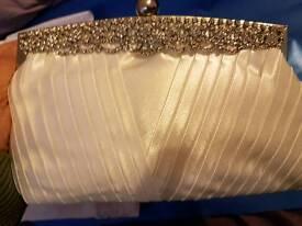 Brand new ivory satin & Diamonte clutch bag