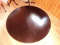 large ex Habitat round solid oak low table sits on chrome frame