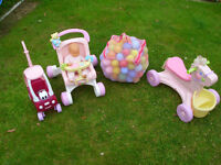 LITTLE TIKES DOLLS COUPE CAR, BAG OF BALLS, FISHER PRICE DOLLS PUSHCHAIR & PONY