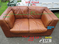 3+2 seat sofas top stuff real leather used , antique tan
