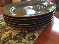 Dinner Plates in Dark Green x 6 edged in Gold.