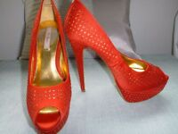 Ted Baker sparkly red high heels occasion party shoes size 6 / 39 RRP £150!