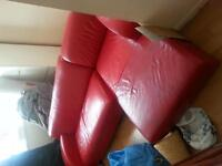 Red leather corner sofa- £40