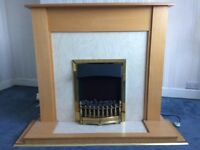 Electric fireplace with mantel piece and backboard. Great working condition, selling due to revamp.