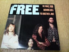 """FREE 7"""" E.P ALL RIGHT NOW (long version) WISHING WELL,MY BROTHER JAKE. SUPERB CONDITION."""