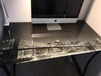 Tempered Glass City Topped Work Desk