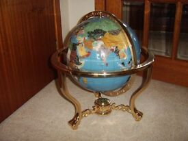 Large Floor Standing, Semi Precious World Globe, Really Good Condition