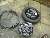 ONE,5 STUD,5 X 110 PCD,VAUXHALL NEW SPACESAVER WHEEL,T115/70/16 TYRE NEW,FITTINGS TOOLKIT,WHOLE LOT
