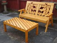-Welcome-Sell garden furniture Horse bench + table (Handmade quality).