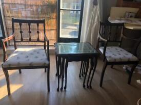 Vintage rose wood nest coffee table + 2 arm chairs newly upholstered
