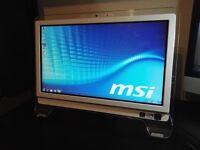 "MSI 20"" Touchscreen all in one pc Intel T4500 2x2.30GHz 4Gb Ram 100Gb hard drive Webcam Wifi Win7"