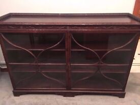 ANTIQUE GLAZED DARK WOOD BOOKCASE IN VERY GOOD USED CONDITION FREE LOCAL DELIVERY 07486933766